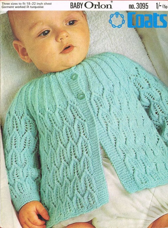 Lacy baby matinee coat vintage knitting pattern PDF by Ellisadine