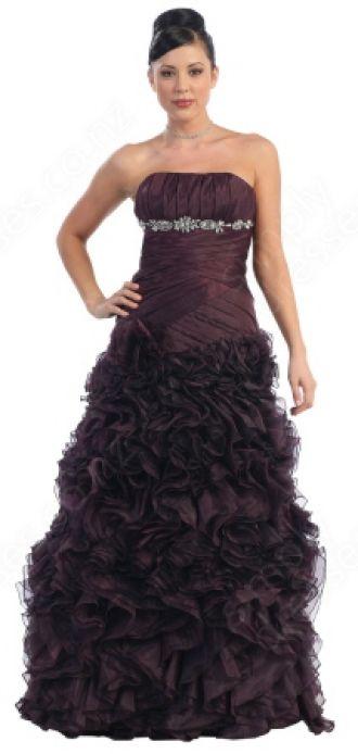 A-line Strapless Organza Floor-length Grape Pleats Prom Dress