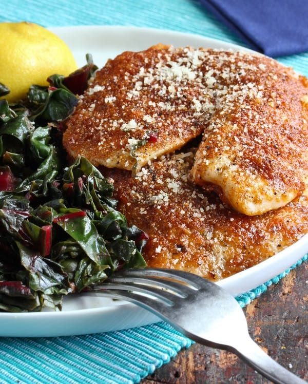 Recipe: Crispy Paprika-Parmesan Fish Fillets with Sautéed Chard | Kitchn