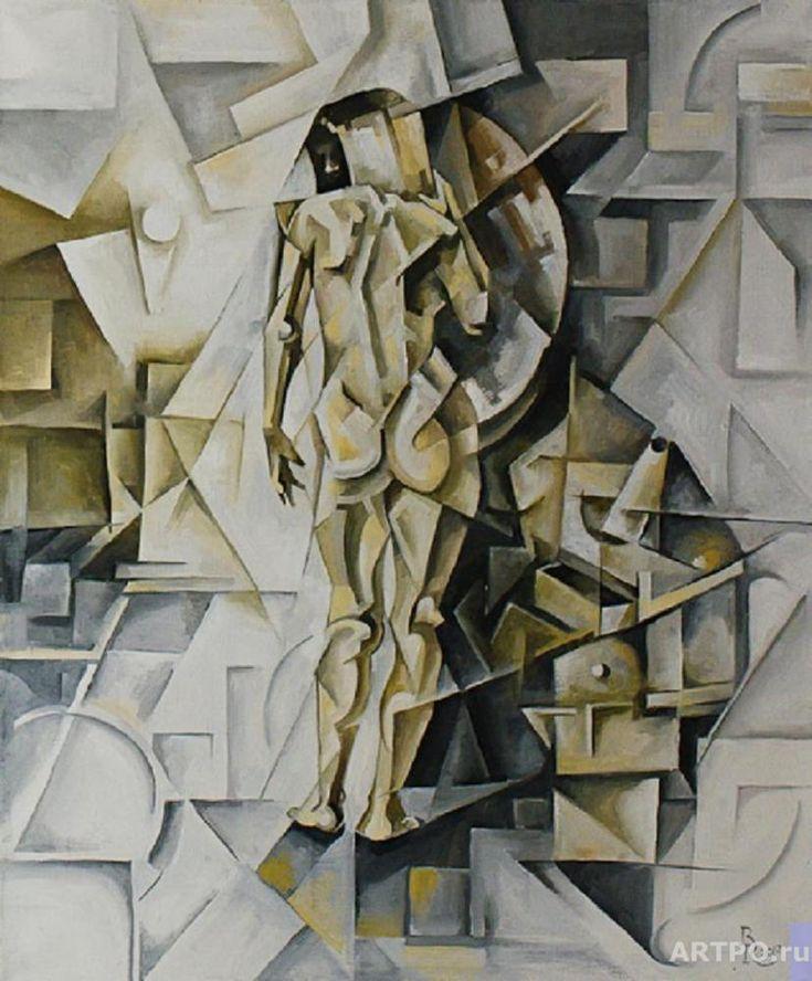 Girl in the mirror - Cubo-futurism artworks by Krotkov Vassily