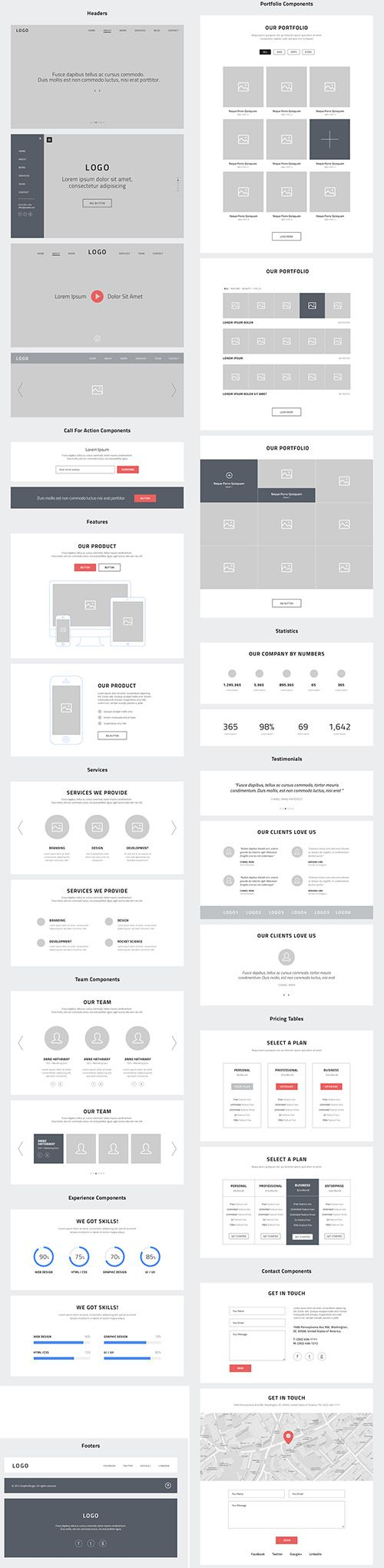 PSD Web Design - One Page Website Wireframes » Graphic GFX PSD Sources Stock…