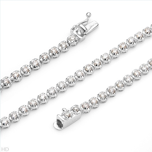 $669.00  Superb Brand New Tennis Bracelet With 1.08ctw Genuine  Clean Diamonds in 18K White Gold. Total item weight 5.6g  Length 7in - Certificate Available.