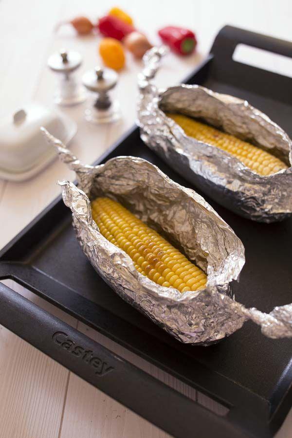 Maïs grillé à la plancha (ou au barbecue): photo de la recette