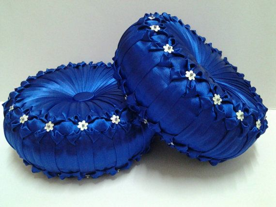 Image result for bright blue satin cushions
