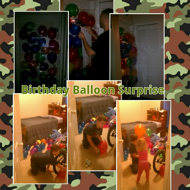 """Birthday Balloon Door Surprise...tape saran wrap lightly to the outside of bedroom door, then fill with balloons, and finally- loudly wake up the unknowing birthday victim with statement like """" hurry up get up your late for school""""...then video tape...super funny."""