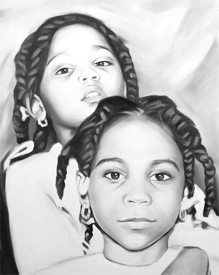 Art Commission Painting   Custom portrait on canvas from photo Family Portrait home decor