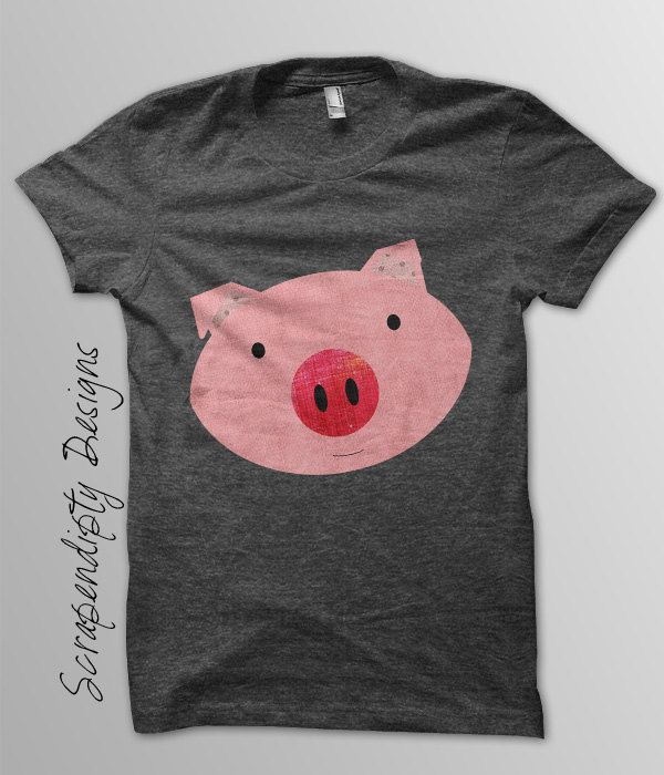 Pink Pig Iron on Transfer - Farm Animals Iron on Tshirt PDF / Girls Pig Shirt / DIY Hippie Baby Clothes / Kids Boys Clothing Top IT25