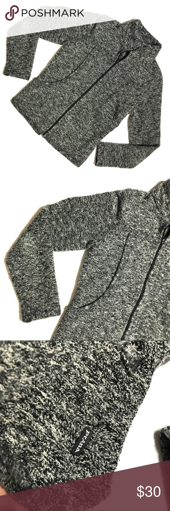 """Prana Black White Heathered Knit Zip Up Sweater Prana Black White Heathered Knit Zip Up Long Sleeve Sweater Jacket Womens Small  *Good Used Condition. A bit of wear on elbows, please see pictures.  Measurements: 34"""" Bust 24"""" Length Prana Jackets & Coats"""
