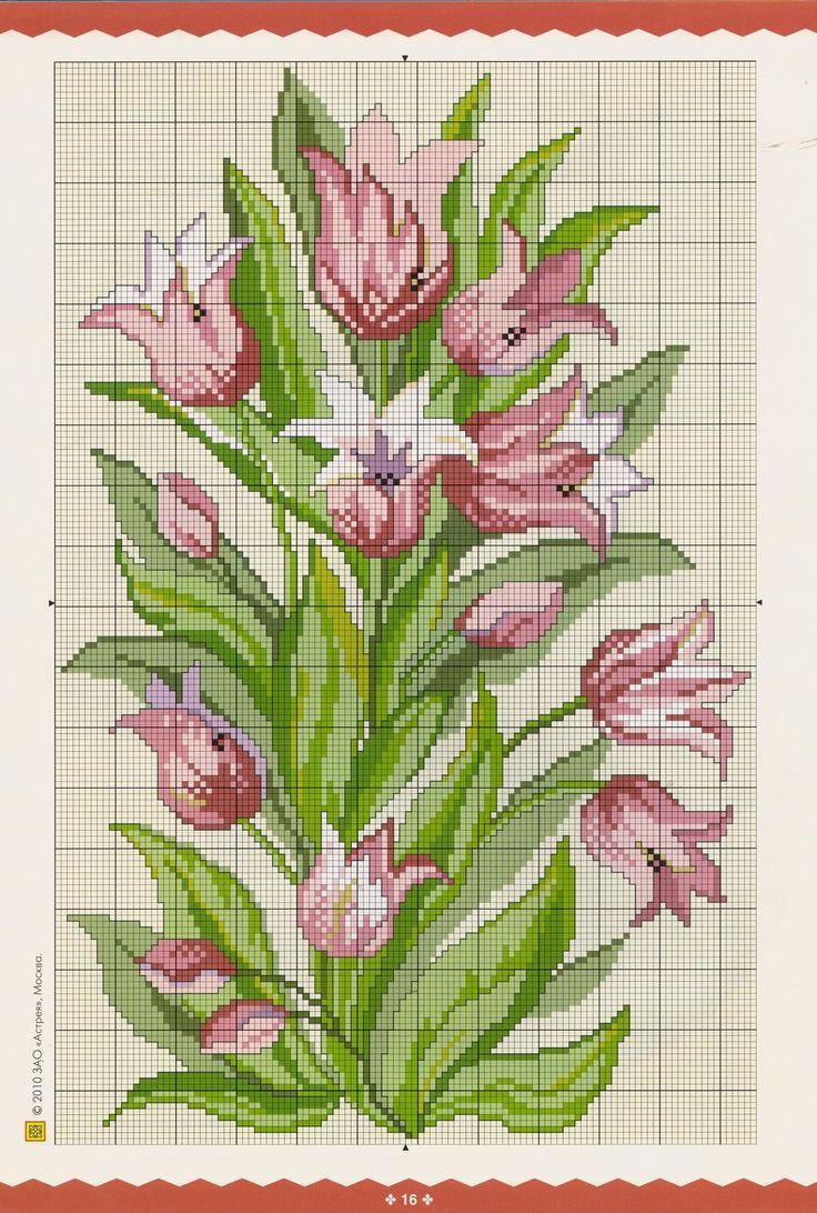 pinterest cross stitch tulips   Share