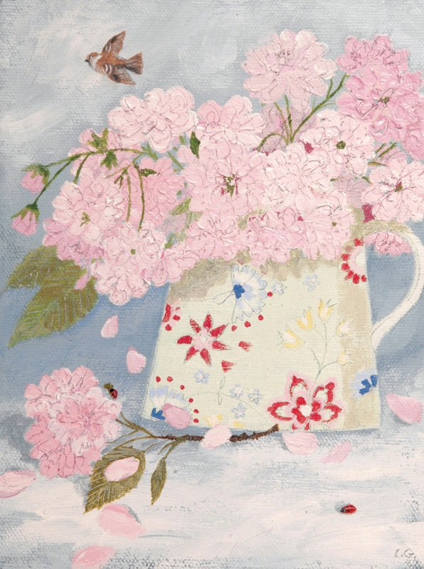 Pink blossom in a jug - Lucy Grossmith