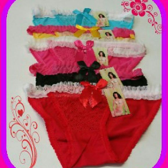 NWT LOT OF 5 PR LADIES UNDERWEAR LARGE Made of cotton,spandex and lace..beautifully detailed.. Lot comes with 5pr of women's high cut low waist underwear in a size large.. Intimates & Sleepwear Panties