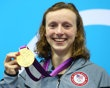 Gold medallist Katie Ledecky of the United States poses on the podium during the medal ceremony for the Women's 800m Freestyle on Day 7 of the London 2012 Olympic Games at the Aquatics Centre on August 3, 2012 in London, England.