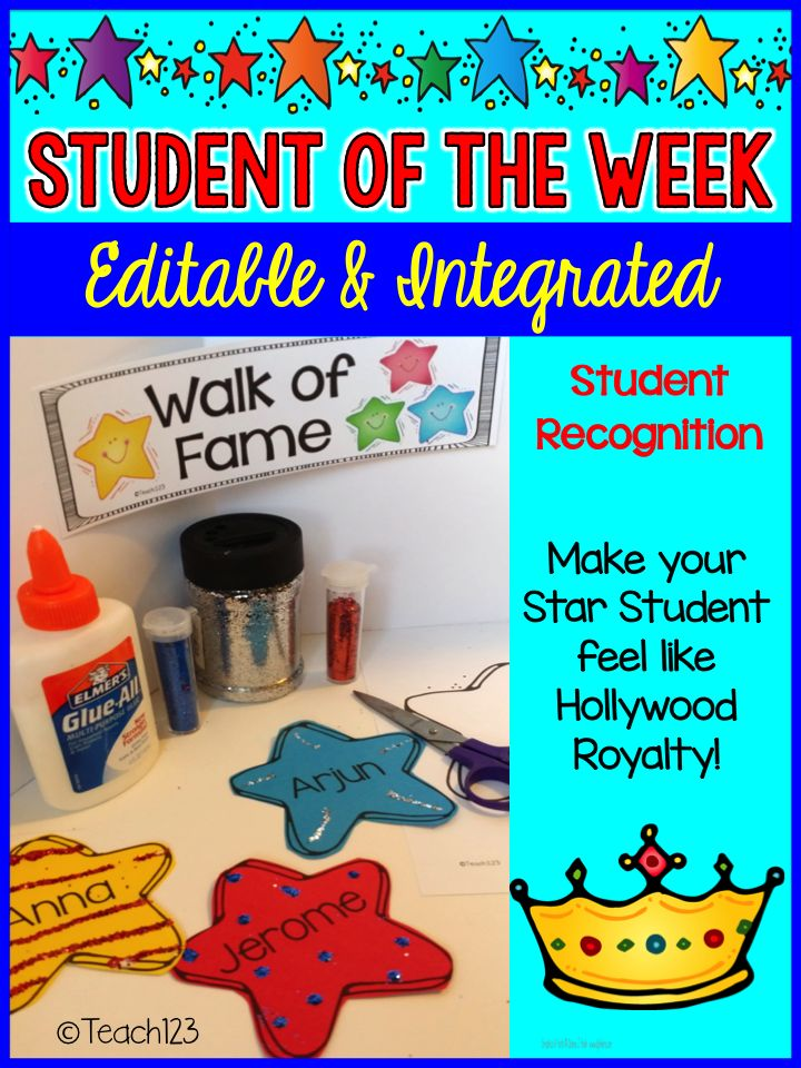 Editable & Integrated: Star Student - Student of the Week. A fun approach to integrating this your curriculum. Paid
