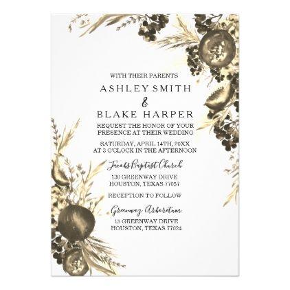 Elegant Modern Gold Floral Fern Wedding Invite - floral style flower flowers stylish diy personalize