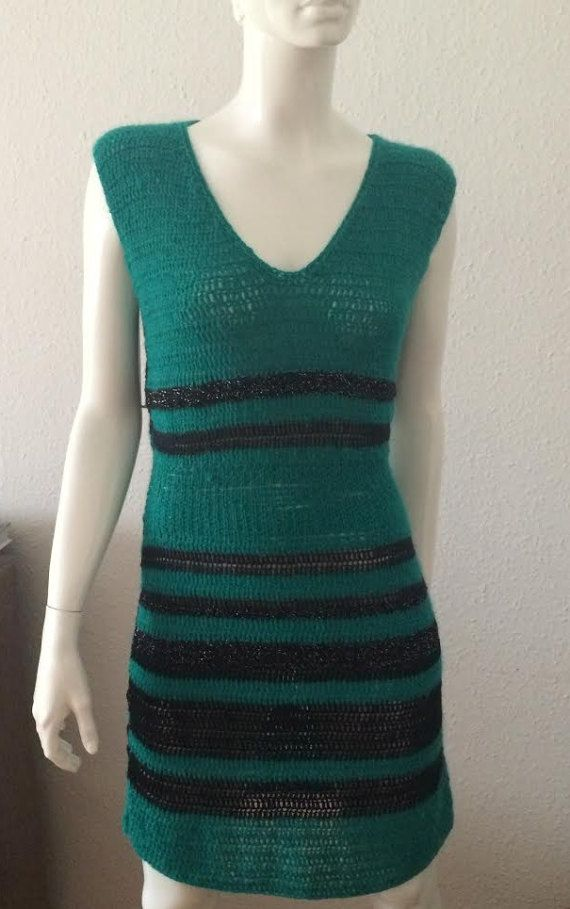 Woman crochet dress handmade boho knitted dress tunic new size M
