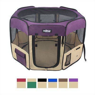Keep your pet safe and sound with EliteField's 2-Door Soft-Sided Dog & Cat Playpen! This sturdy soft-sided playpen is the perfect enclosure for your furry friend. Two zippered doors give your pet multiple ways to enter and exit their play area while also providing the visibility and ventilation needed to keep them comfortable. Made with solid and easy to clean fabric, you can count on EliteField products to last. Plus, this product includes free ground stakes and a handy carrying bag whic...
