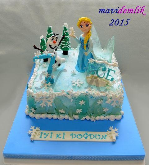 mavi demlik mutfağı- izmir butik pasta kurabiye cupcake tasarım- şeker hamurlu-kur: ECE'NİN FROZEN KARLAR ÜLKESİ TEMALI 7 YAŞ PASTASI