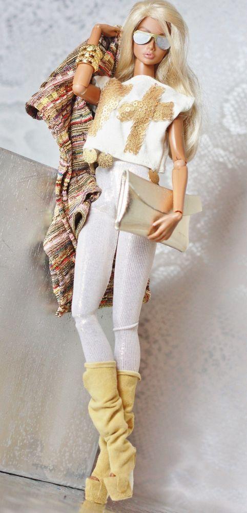 fashion royalty, fr2 dollsalive Gitane Glam routfit, leather shoes ,bag