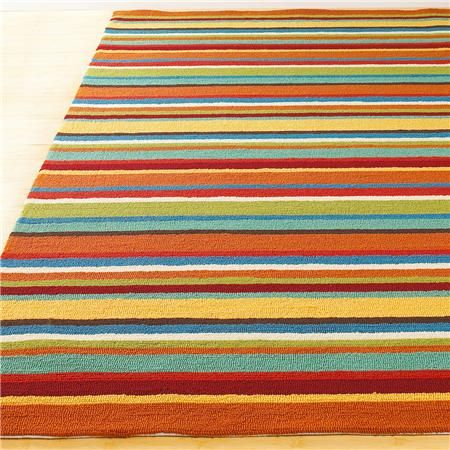 Colorful Stripe Hooked Indoor Outdoor Rug