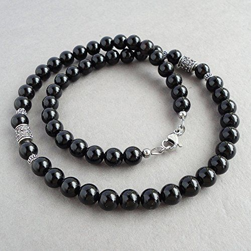 Black Onyx Men's Necklace - 8mm Beaded Gemstone Jewelry for Men - Handmade $54.95+