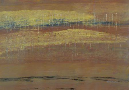 Rosella Namok  Salmon Season  2012  Synthetic Polymer Paint on Belgian Linen  89 x 57 cm  $3,000 AUD