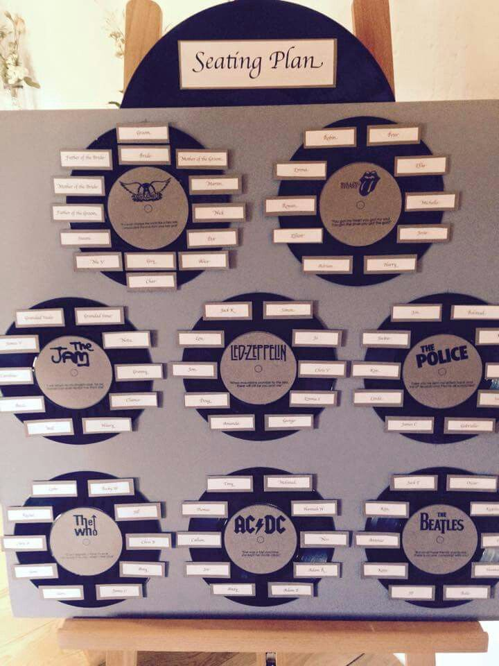 Music Themed Wedding Using Rock Bands And Records To Creat A Seating Plan