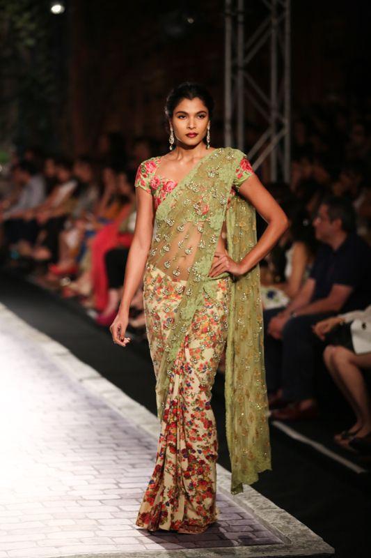 Saree by Monisha Jaising at ICW 2014 #saree #sari #blouse #indian #hp #outfit #shaadi #bridal #fashion #style #desi #designer #wedding #gorgeous #beautiful
