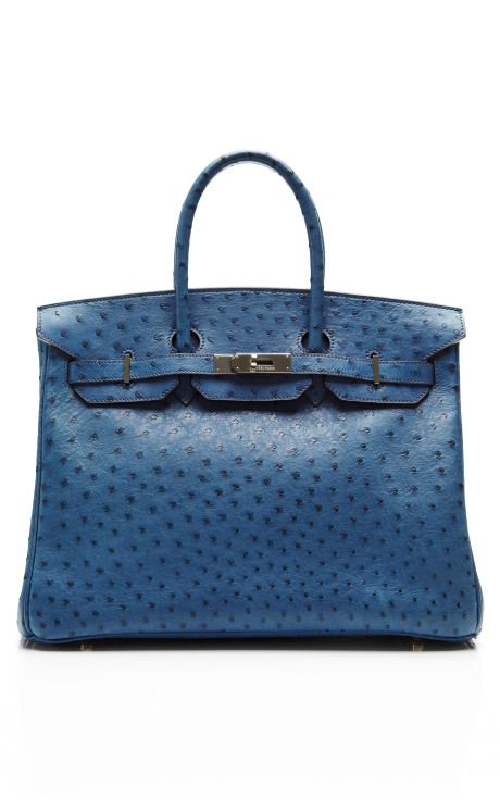 Hermes 35Cm Blue Roi Ostrich Birkin With Palladium Hardware by Heritage Auctions Special Collections - Moda Operandi