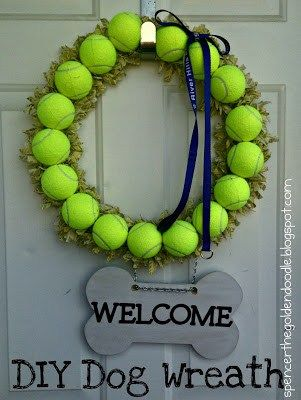 How fun!  This is perfect for any dog lover (or, any tennis fan!)!  Find out how to make this tennis ball wreath here: http://spencerthegoldendoodle.com/diy-dog-wrea/?utm_content=buffer8211f&utm_medium=social&utm_source=pinterest.com&utm_campaign=buffer  royalflushhavanese.com #RFH #RFHRI #RFHFL #Havanese #DogCrafts #DogDecor #DIY #ArtsAndCrafts #DogLovers #HavaneseLovers #HavaneseDaily