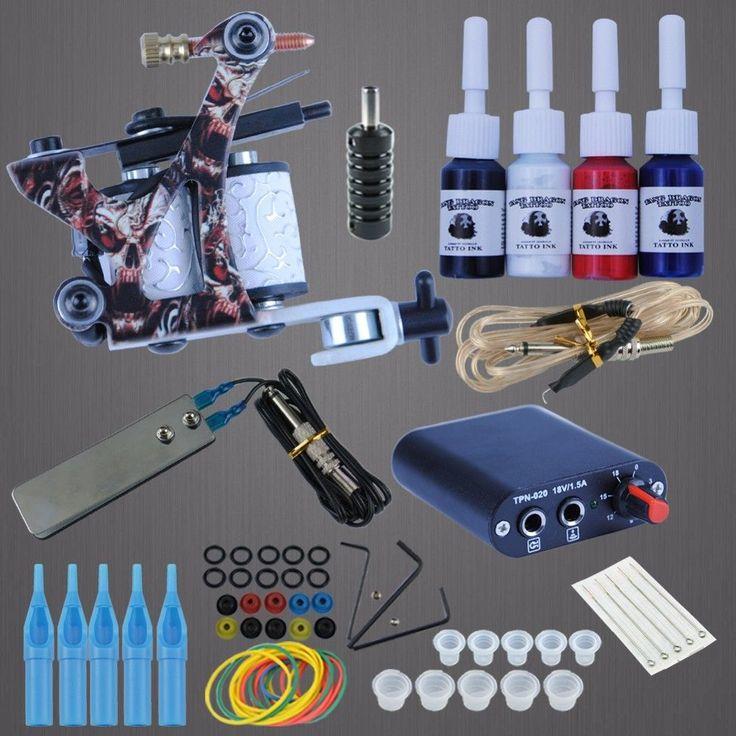 Tattoo Kits 8 Wrap Coils Guns Cheap Tattoo Machine Set Black Pigment Sets Power #Unbranded