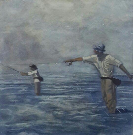 Flyfishing - Acrylic on canvas by Christine Joubert