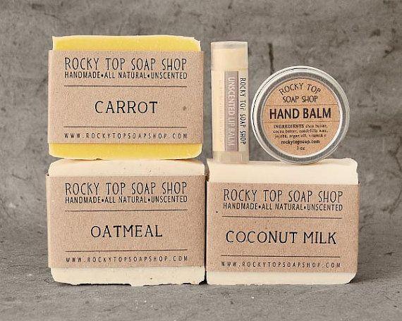 Winter Skin Set - Natural Soap Gift Set, Unscented Soap, Cold Process Soap, Bath Gift Set