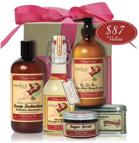 Holiday fragrance all-wrapped-up and ready to give ($87.00 Value). Includes 8oz massage oil, 8oz SOS extra rich body cream, 12oz soap seduction, 8oz sugar scrub & 7oz little indulgence.