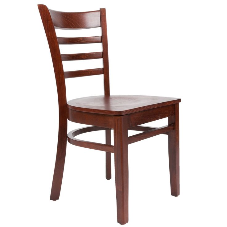 $49.75 Lancaster Table & Seating Mahogany Finish Wooden Ladder Back Cafe Chair