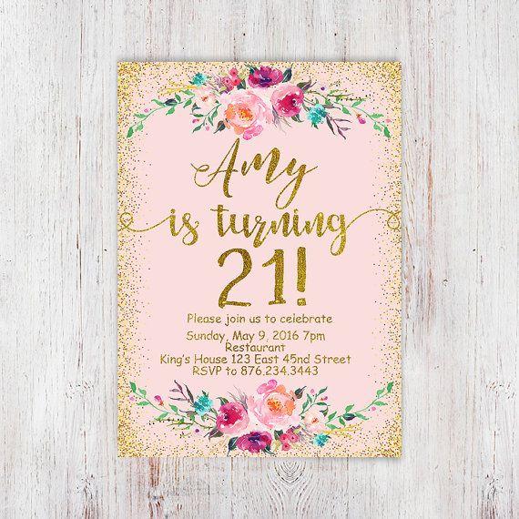 11 best debut invitation images on pinterest invitations birthday birthday floral pink and gold 21st birthday invitation blush pink gold glitter stopboris Gallery