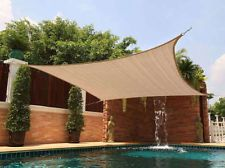 New Square 12x12 Sun Shade Sail Cover Canopy Outdoor Patio Yard Pool Sand Beige