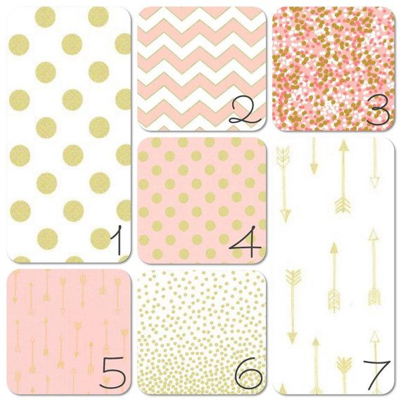Nursery Bedding Set  Gold and Pink Dots and by 3LollipopGirls