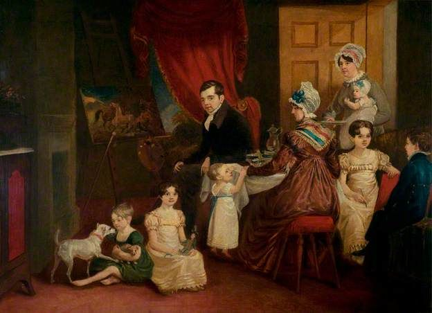 """""""Portrait of the Artist and His Family in His Studio"""", John E. Ferneley I, 1822-23; LCCMS L.F184.1981.0.0"""