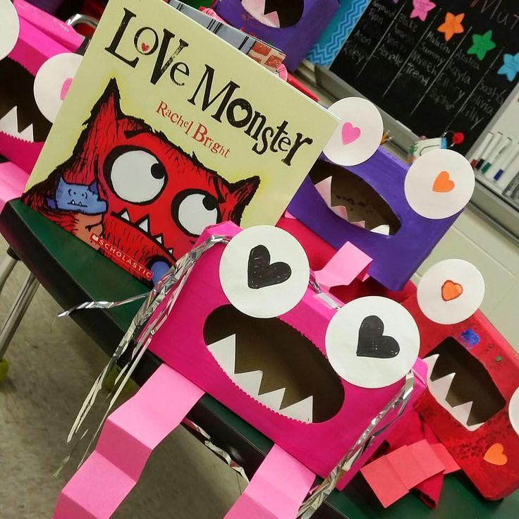 Valentine's Day Ideas for Kids. Valentine's Day craft boxes. Valentine holders. Love Monster craft.