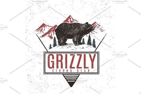 Old retro logo with bear grizzly Graphics Old retro logo with bear grizzly on mountains background.Vector vintage label by VectorMaster
