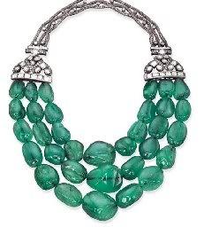 Emerald beads and diamond necklace, Im assuming its an estate piece, stunning!
