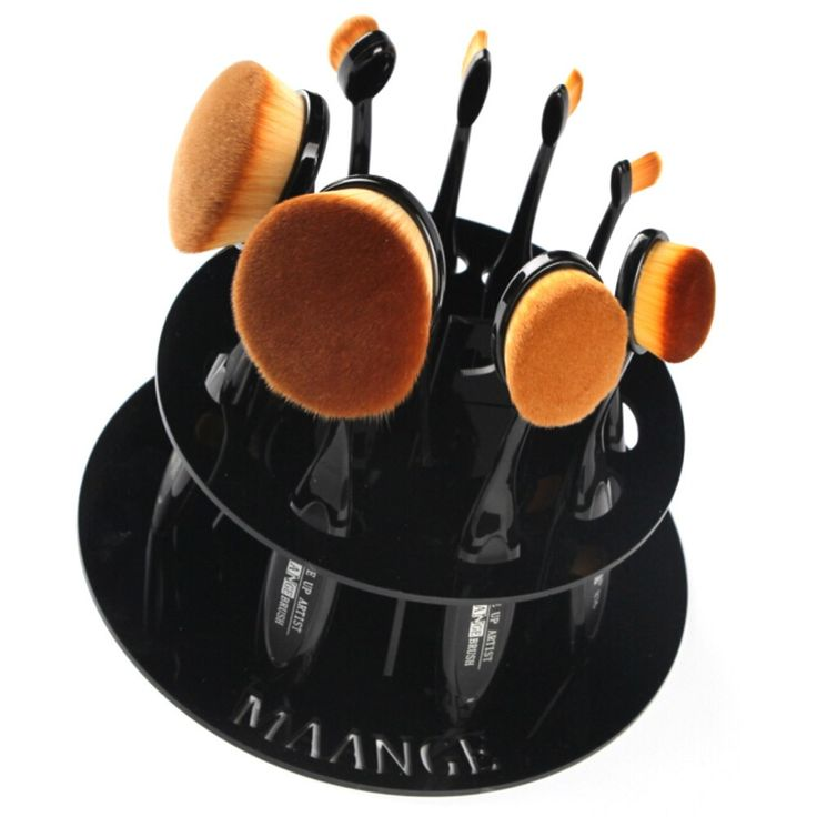 10 Hole Oval Makeup Brush Holder Drying Rack Organizer Cosmetic Shelf Tool No Brushes