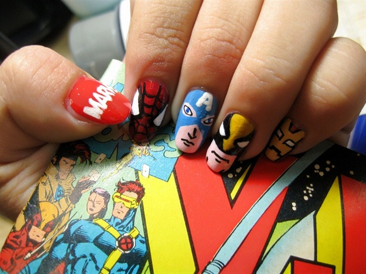 Marvel Nails. I wish I was good at nail art