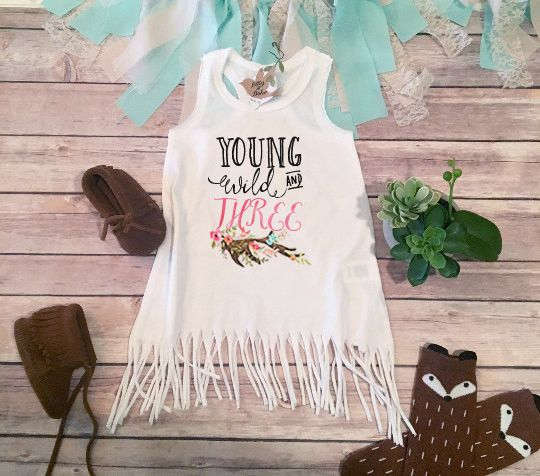 Third Birthday Fringe Dress, Boho Baby Clothes, Young Wild and Three Birthday Dress, Hippie Baby Clothes, 3rd Birthday Girl Bohemian Dress