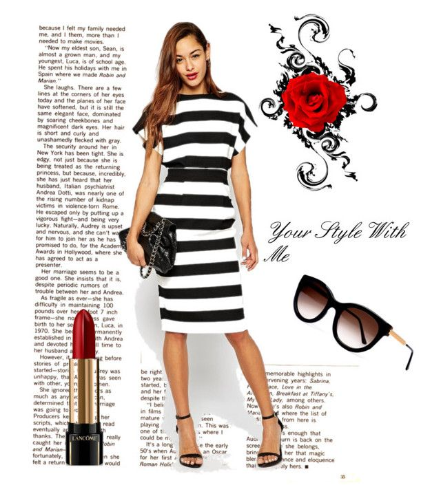 Stripe dress! by christina-geo on Polyvore featuring Thierry Lasry, Lancôme, Sola, women's clothing, women's fashion, women, female, woman, misses and juniors