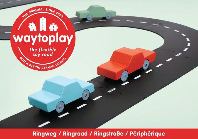 Waytoplay is een flexibele autobaan die bestaat uit makkelijk te koppelen baandelen. Met Waytoplay speel je op elke ondergrond zoals tapijt, gras of zand!
