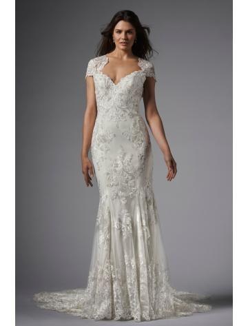 robe de mairée sirène dentelle élégant avec traîne