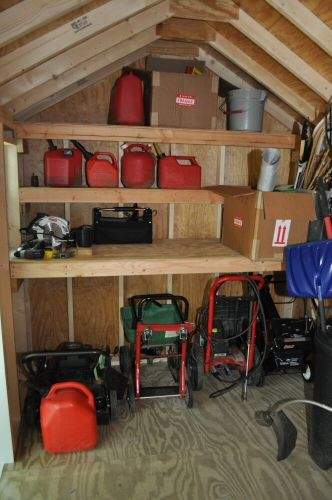 "Organized shed with shelves - OneProjectCloser.com - how to build the shelves. Jim doesn't need the ""how to,"" but it has some good ideas about depth of shelves and organization."