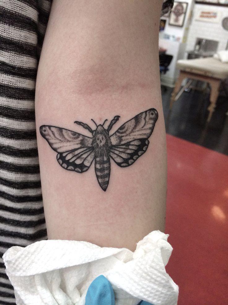Dotwork moth tattoo. By Jennifer lawes.