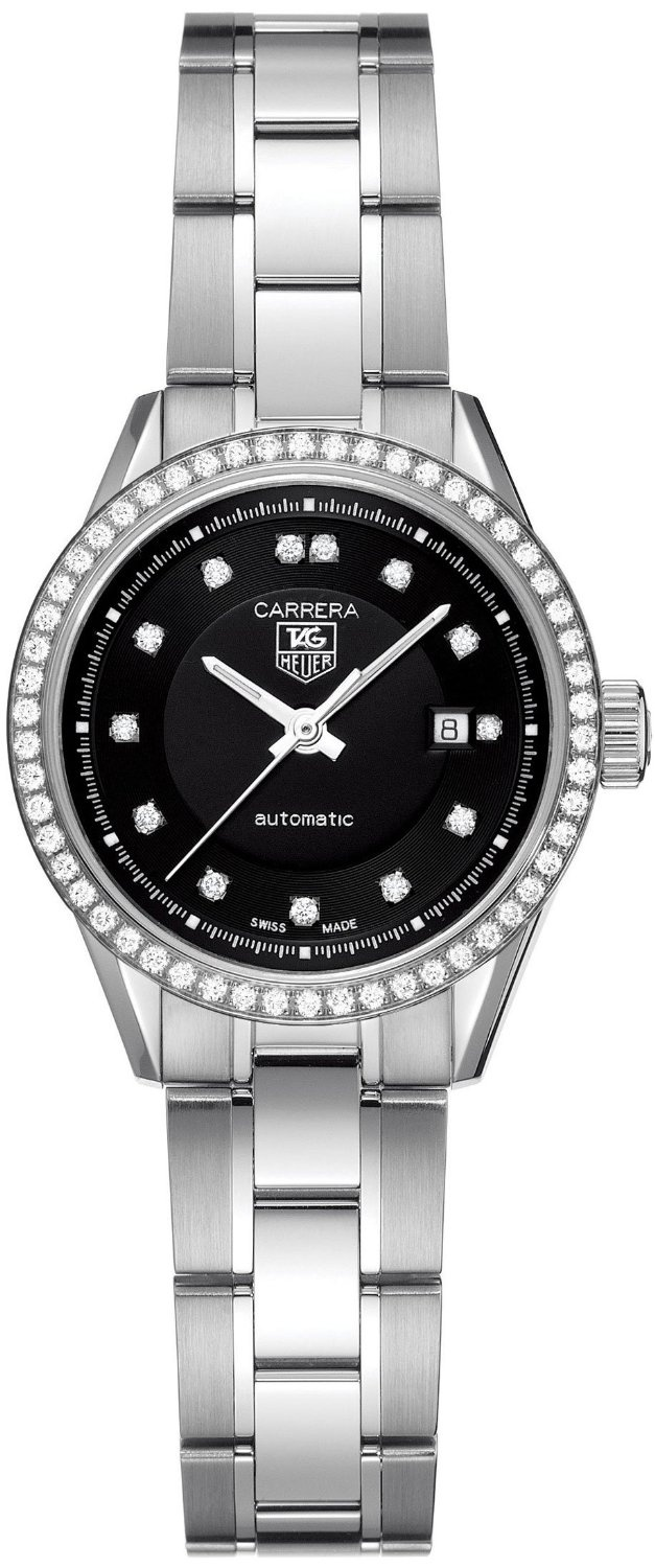 Tag heuer women 39 s wv2412 ba0793 carrera diamond accented stainless steel watch things that for Woman diamond watches